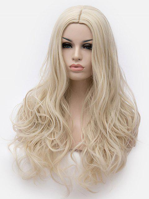 Long Center Parting Wavy Anime Cosplay Synthetic Wig - BLONDE