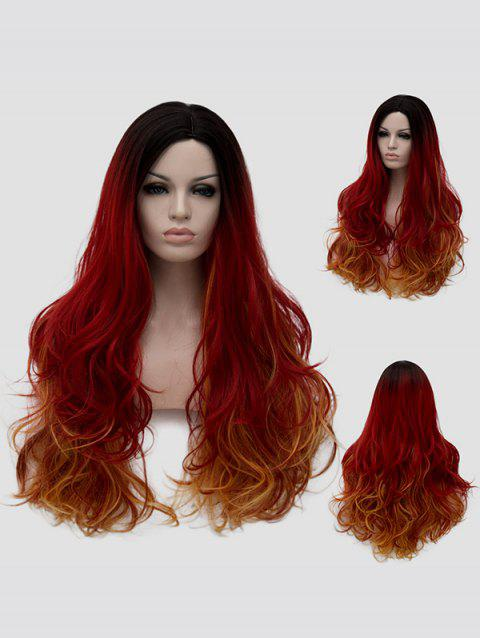 Long Side Parting Slightly Curly Colorful Cosplay Synthetic Wig - multicolor