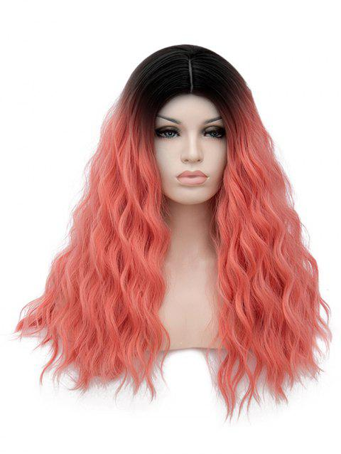 Long Middle Part Natural Wavy Cosplay Party Anime Synthetic Wig - multicolor G