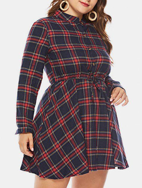Plus Size Plaid A Line Dress - RED WINE 3X