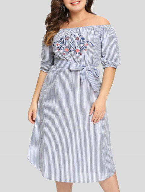 Striped Plus Size Embroidery Mid Calf Dress - SKY BLUE 1X
