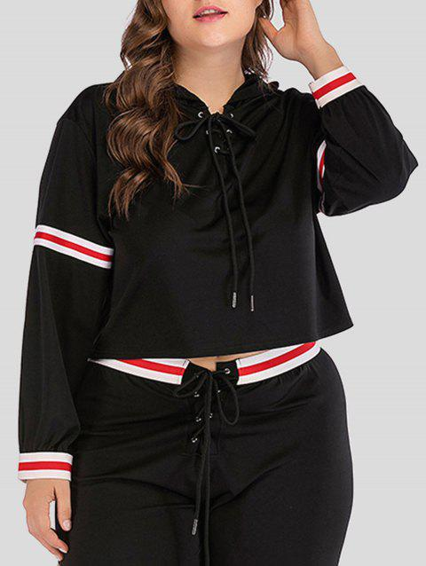 Long Sleeve Plus Size Lace Up Hoodie - BLACK 4X