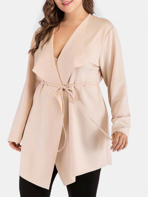 Plus Size Long Sleeve Wrap Coat - BLANCHED ALMOND 3X