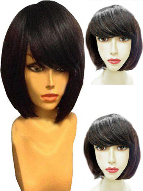 Short Inclined Bang Straight Party Capless Synthetic Wig - NATURAL BLACK