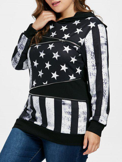Plus Size American Flag Patriotic Hoodie - BLACK 2X