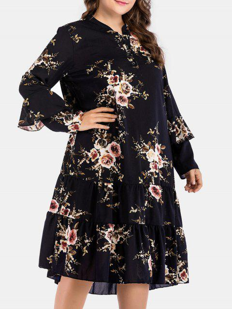 Floral Print Plus Size Mid Calf Dress - BLACK 2X