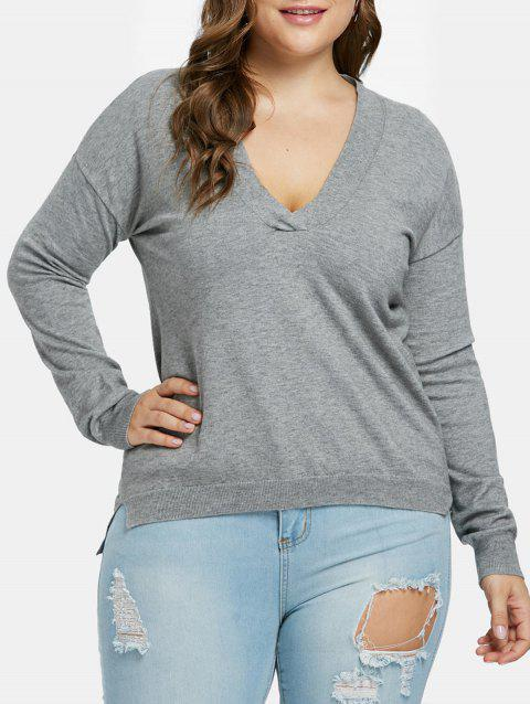 Plus Size Ribbed Panel Long Sweater - GRAY 3X