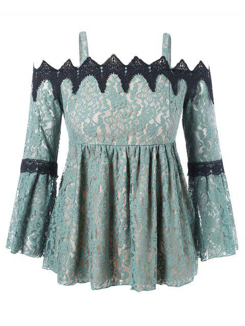 Plus Size Flare Sleeve Lace Blouse - SEA GREEN 1X