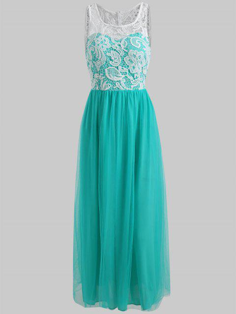 Lace Applique Maxi Prom Dress - MACAW BLUE GREEN M