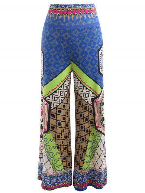 High Waist Ethnic Print Palazzo Pants - multicolor A M