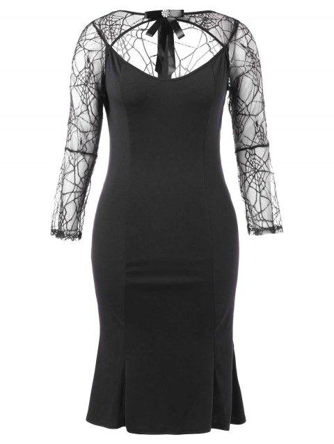 Halloween Plus Size Spider Lace Cut Out Dress - BLACK 1X
