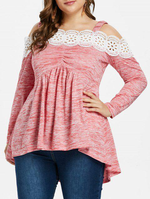 aea856f3be 63% OFF  2019 Plus Size Cold Shoulder High Low Hem T-shirt In PINK ...