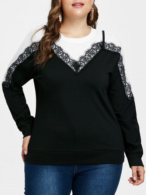 Plus Size Lace Two Tone Sweatshirt - BLACK 2X