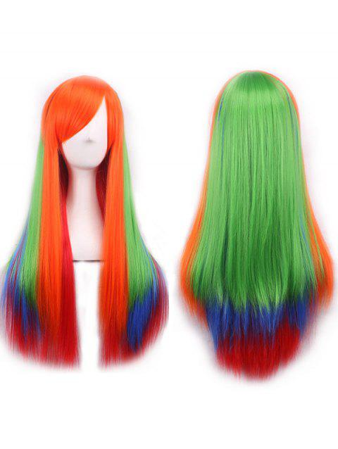 Long Side Bang Colorful Straight Cosplay Synthetic Wig - multicolor