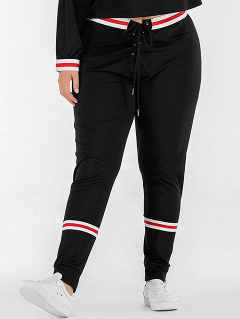 Plus Size Elastic Waist Striped Panel Pants - BLACK 2X