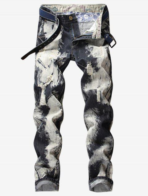 Paint Ripped Zip Fly Tapered Jeans - BLACK COW XS