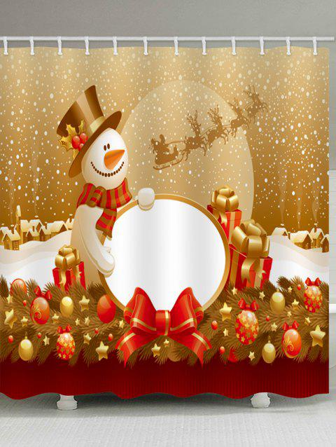 Christmas Snowman Gifts Print Waterproof Shower Curtain - multicolor W71 X L79 INCH