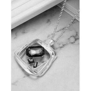 Hollow Out Square Pendant Necklace - SILVER