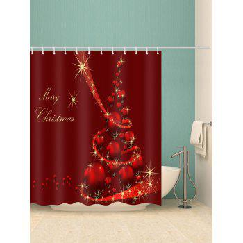 Merry Christmas Ball Waterproof Bathroom Curtain - RED W71 X L79 INCH