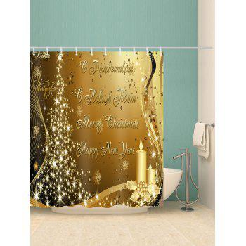Rideau de Douche à Imprimé Inscription Merry Christmas et Happy New Year - Brun Doré W59 X L71 INCH