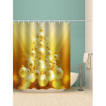 Christmas Ball Printed Waterproof Bathroom Curtain - GOLDEN BROWN W71 X L71 INCH