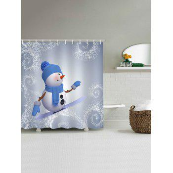 Christmas Snowman Pattern Waterproof Shower Curtain - multicolor W71 X L79 INCH