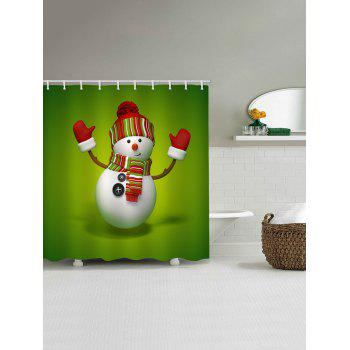 Christmas Snowman Greeting Print Waterproof Shower Curtain - GREEN W59 X L71 INCH