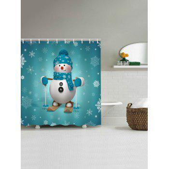 Christmas Snowman Skier Print Waterproof Shower Curtain - MACAW BLUE GREEN W59 X L71 INCH