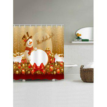 Christmas Snowman Gifts Print Waterproof Shower Curtain - multicolor W65 X L71 INCH