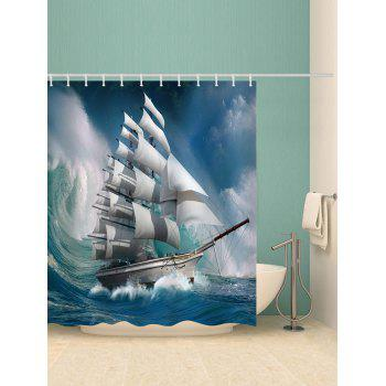 Wave Sailboat Pattern Waterproof Shower Curtain - GLACIAL BLUE ICE W71 X L71 INCH