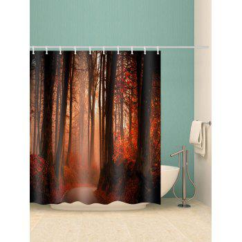 Forest Path Waterproof Shower Curtain - RED W59 X L71 INCH