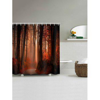 Forest Path Waterproof Shower Curtain - RED W71 X L71 INCH