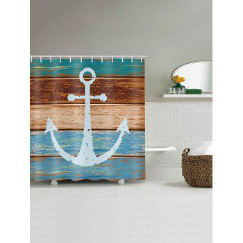 Anchor Wooden Print Waterproof Shower Curtain - multicolor W71 X L79 INCH