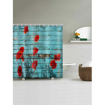 Flower Wooden Pattern Waterproof Shower Curtain - RED W71 X L79 INCH