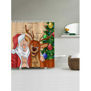 Santa Claus Deer Pattern Waterproof Shower Curtain - multicolor W71 X L71 INCH