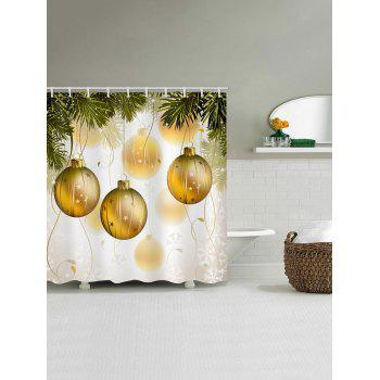Christmas Ball Print Waterproof Bathroom Shower Curtain - BRIGHT YELLOW W59 X L71 INCH