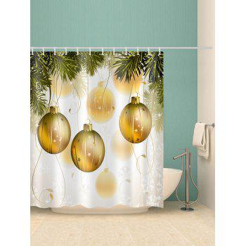 Christmas Ball Print Waterproof Bathroom Shower Curtain - BRIGHT YELLOW W71 X L79 INCH