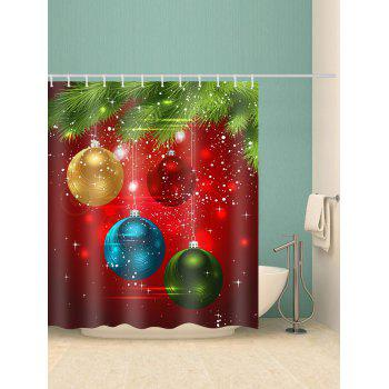 Coloful Christmas Ball Pattern Shower Curtain - multicolor W71 X L71 INCH