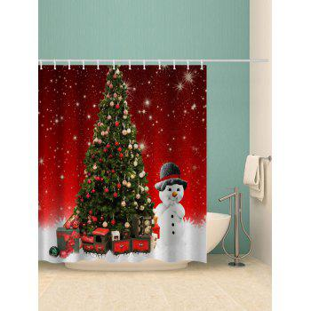 Christmas Tree Snowman Print Waterproof Shower Curtain - RED W71 X L79 INCH