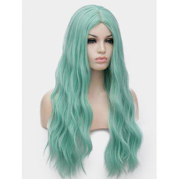 Middle Part Long Natural Wavy Synthetic Anime Cosplay Wig - MINT GREEN