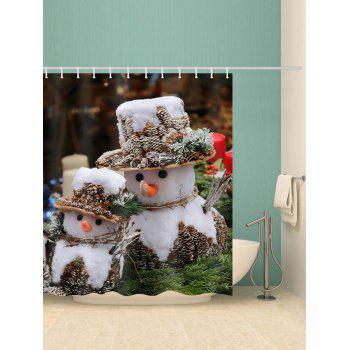Christmas Snowman Printed Waterproof Shower Curtain - WHITE W71 X L79 INCH