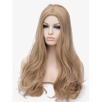 Long Middle Part Slightly Curly Cosplay Anime Synthetic Wig - LIGHT BROWN
