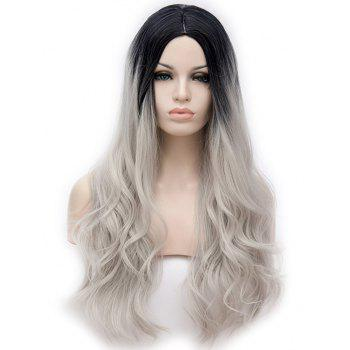Long Center Parting Ombre Slightly Curly Anime Cosplay Synthetic Wig - multicolor A