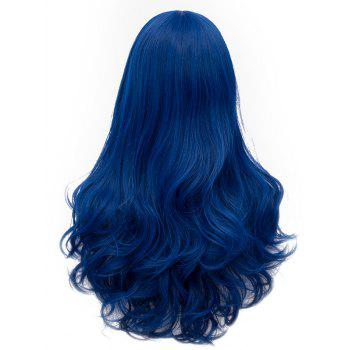 Long Middle Part Slightly Curly Cosplay Anime Synthetic Wig - ROYAL BLUE