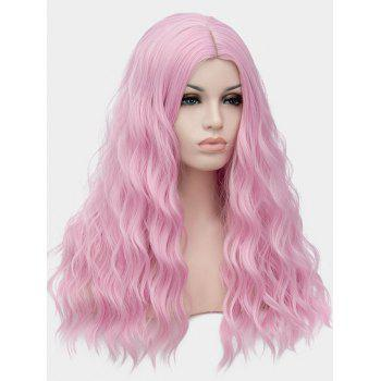 Long Center Parting Natural Wavy Cosplay Lolita Synthetic Wig - LIGHT PINK