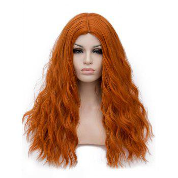 Long Center Parting Natural Wavy Cosplay Lolita Synthetic Wig - TANGERINE
