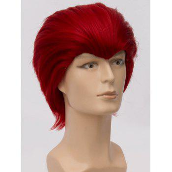 Short Straight Anime Party Synthetic Cosplay Wig - CHESTNUT RED