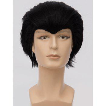 Short Straight Anime Party Synthetic Cosplay Wig - BLACK