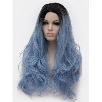 Middle Part Ombre Long Slightly Curly Party Anime Synthetic Wig - multicolor D