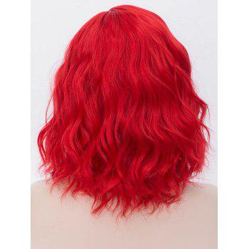 Medium Inclined Parting Natural Wavy Cosplay Synthetic Wig - CHESTNUT RED